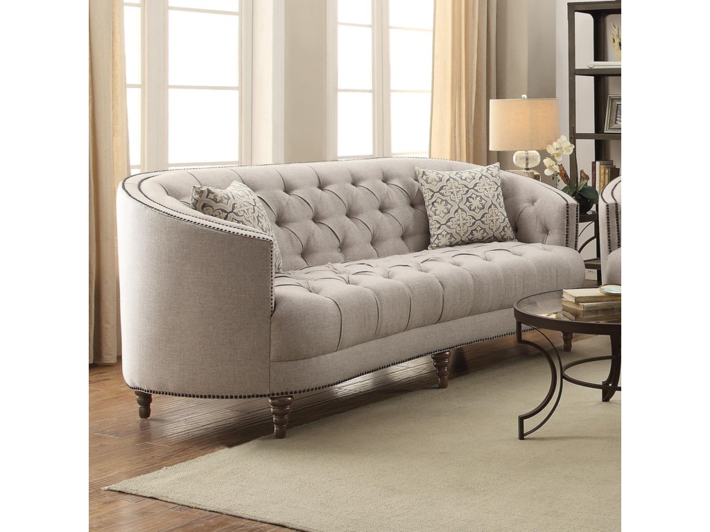 Coaster Avonlea 505641 C Shaped Sofa With On Tufting And Nailhead Trim Dunk Bright Furniture Sofas