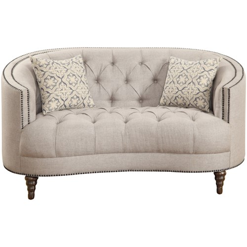 Coaster Avonlea C-Shaped Loveseat with Button Tufting and Nailhead Trim
