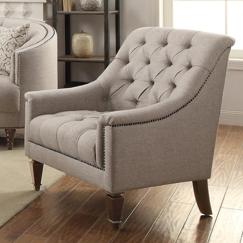 Coaster Avonlea Upholstered Chair with Heavy Tufting