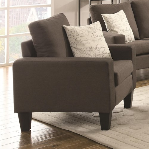 Coaster Bachman Upholstered Chair with Track Arms and Tapered Wood Legs