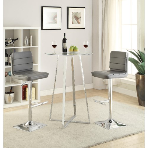 Coaster Bar Units and Bar Tables Glass Bar Height Dining Set