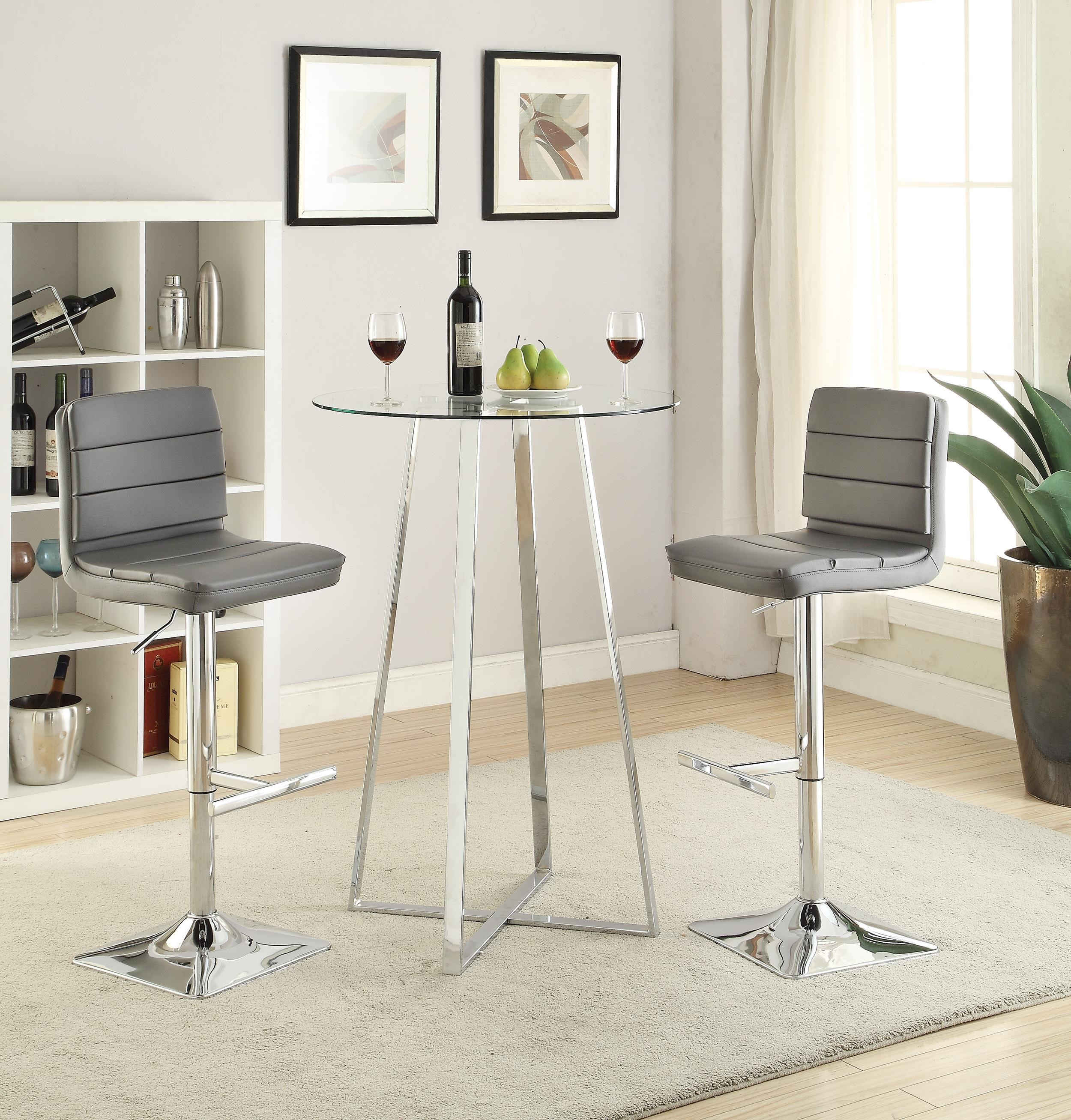Marvelous Coaster Bar Units And Bar Tables Glass Bar Height Dining Set   Del Sol  Furniture   Pub Table And Stool Sets