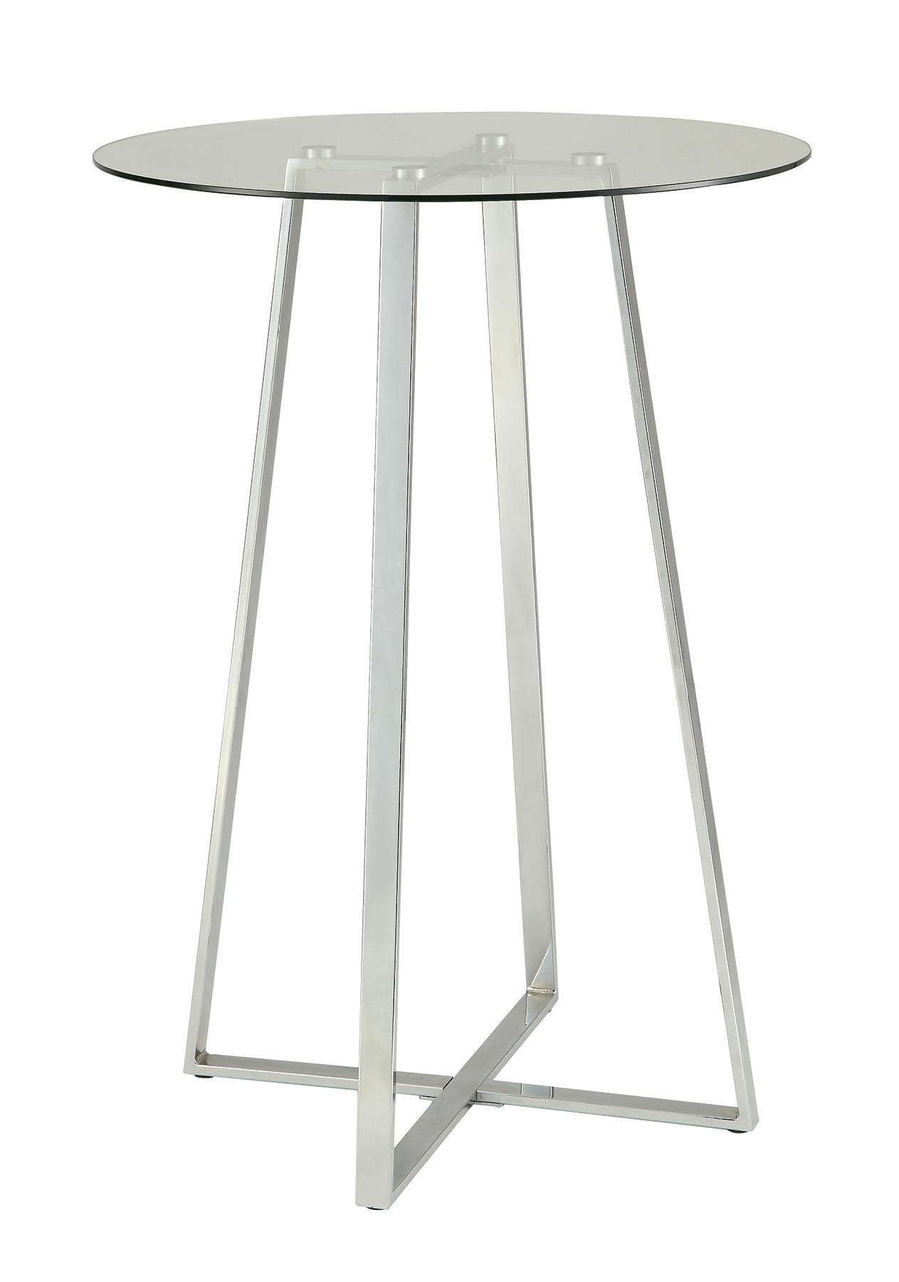 Glass Bar Table with Chrome Base