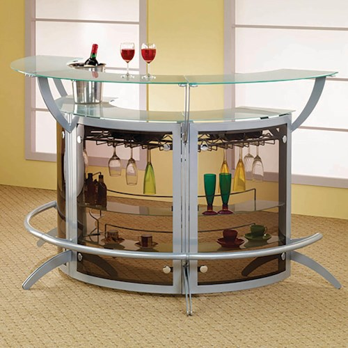 Coaster Bar Units and Bar Tables Contemporary Silver Metal Bar Unit (Set of 3) with Glass Top