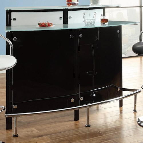 Coaster Bar Units and Bar Tables Arched Black Bar Table with Frosted Glass Counter Tops