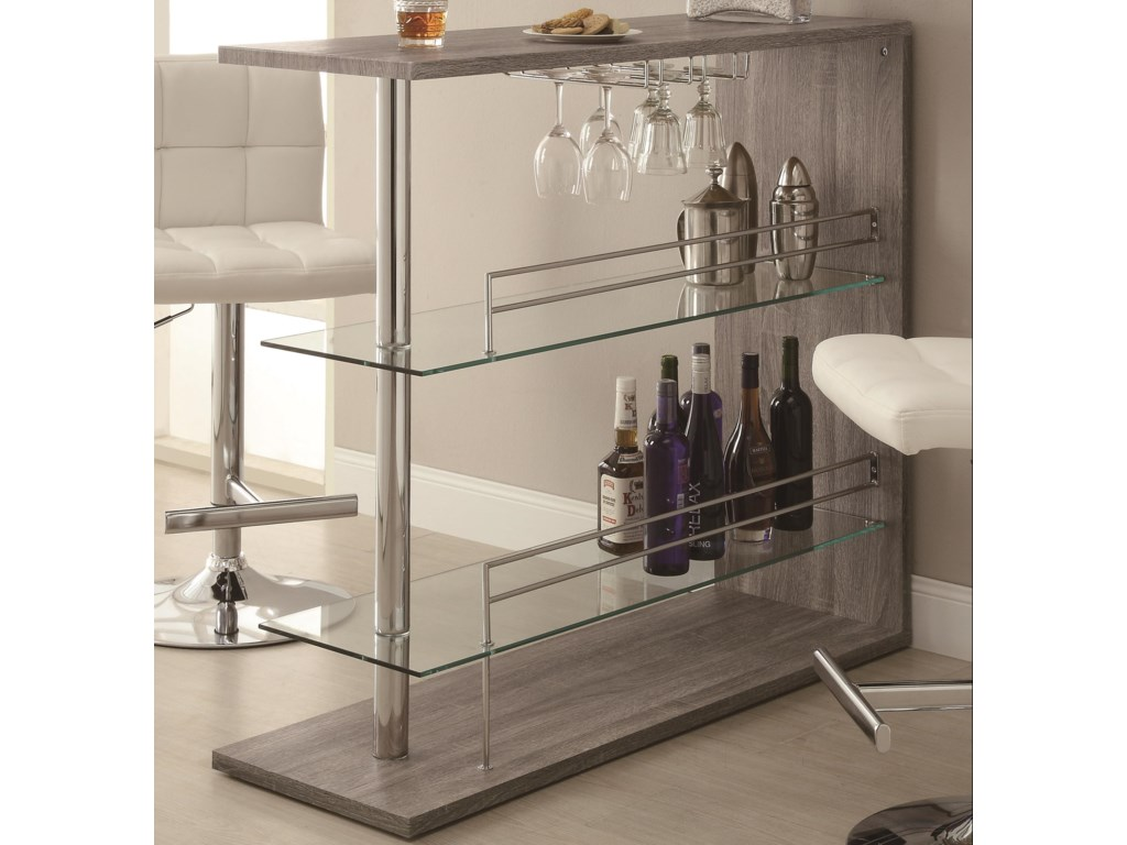 Bar Units And Tables Rectangular Unit With 2 Shelves Wine Holder By Coaster
