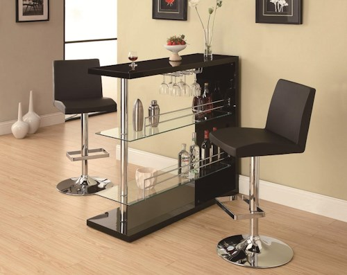 Coaster Bar Units and Bar Tables Sleek Contemporary Bar Set with Stools