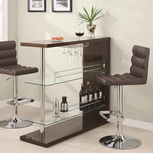 Coaster Bar Units and Bar Tables Rectangular Bar Unit with 2 Shelves and Wine Holder