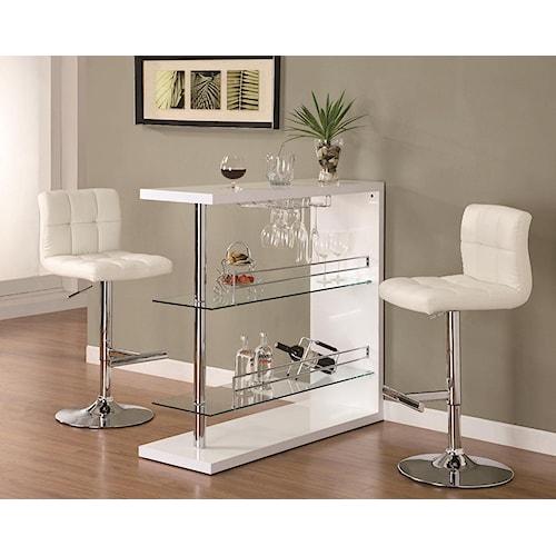 Coaster Bar Units and Bar Tables Sleek Contemporary Bar Set with Stools