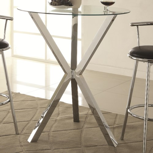 Coaster Bar Units and Bar Tables Round Pub Table with Glass Top and X-Shaped Chrome-Colored Base