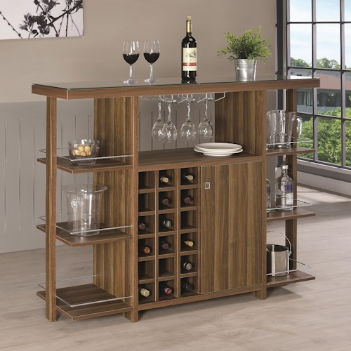 Coaster Bar Units and Bar Tables Modern Bar Unit with Wine Bottle Storage