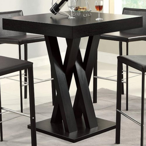 Coaster Bar Units and Bar Tables Crisscross Bar Table with Square Table Top