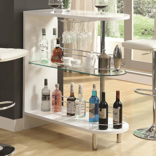 Coaster Bar Units and Bar Tables Contemporary White Bar Table