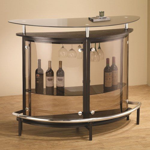 Coaster Bar Units and Bar Tables Contemporary Bar Unit with Smoked Acrylic Front