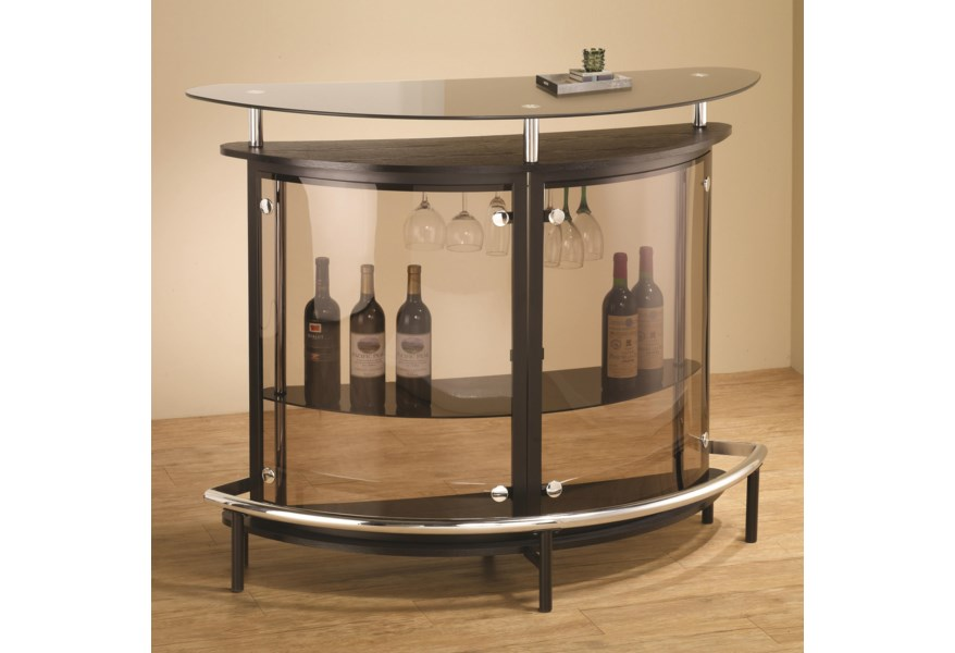 Bar Units And Bar Tables Contemporary Bar Unit With Smoked Acrylic Front By Coaster At Rife S Home Furniture