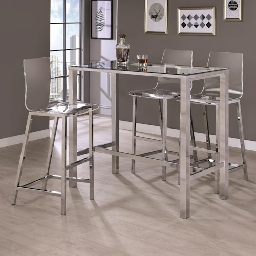Coaster Bar Units and Bar Tables Contemporary Bar Table and Stool Set