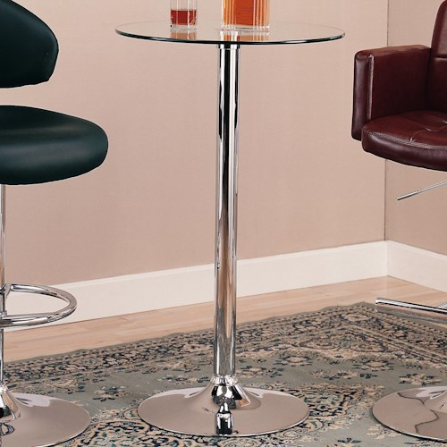 Coaster Bar Units and Bar Tables Round Bar Table with Chrome Base