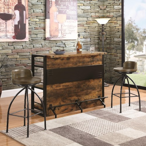 Coaster Bar Units and Bar Tables Rustic Bar with Two Stools
