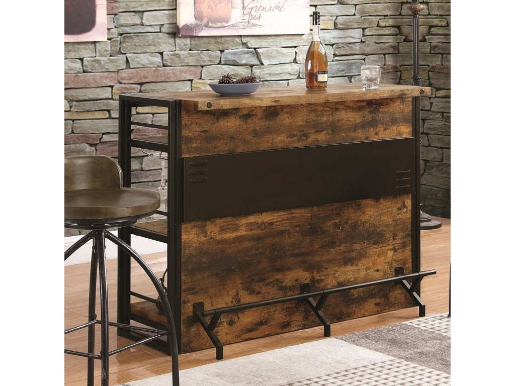 Coaster bar units and bar tables 130071 rustic bar unit with stemware rack dunk bright furniture bars