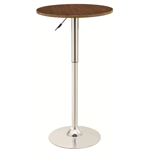 Coaster Bar Units and Bar Tables Adjustable Bar Table with Round Wood Top