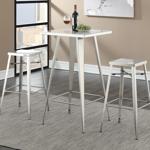 Coaster Bar Units and Bar Tables Silver Square Bar Table