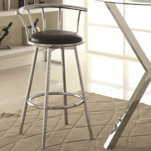 Coaster Bar Units and Bar Tables Chrome-Colored Swivel Bar Stool with Black Upholstered Seat