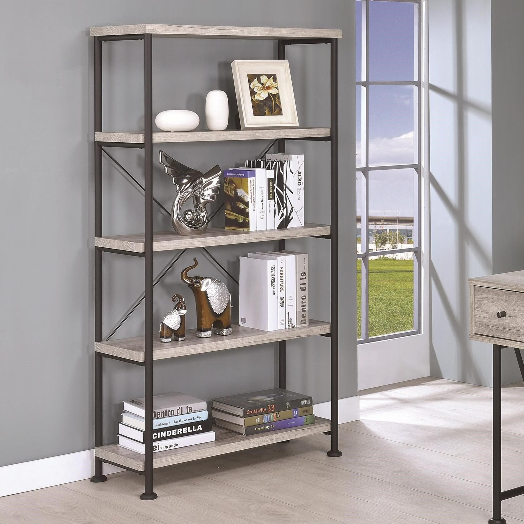 Small Wood and Metal Open Bookcase