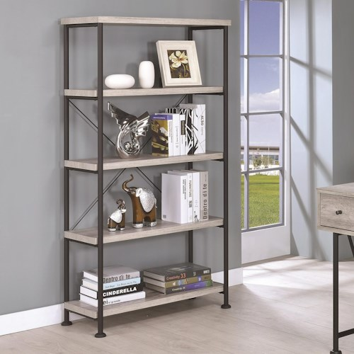 Coaster Guthrie Small Wood And Metal Open Bookcase