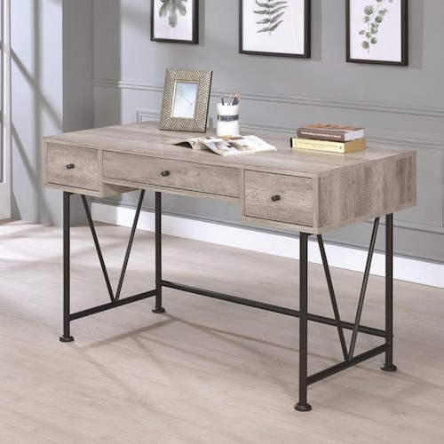 Coaster Guthrie Industrial Style Writing Desk with 3 Drawers