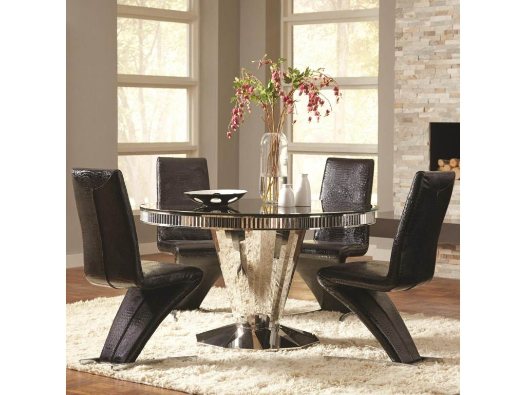 Coaster Barzini 5 Piece Round Dining Table and Black Leatherette ...
