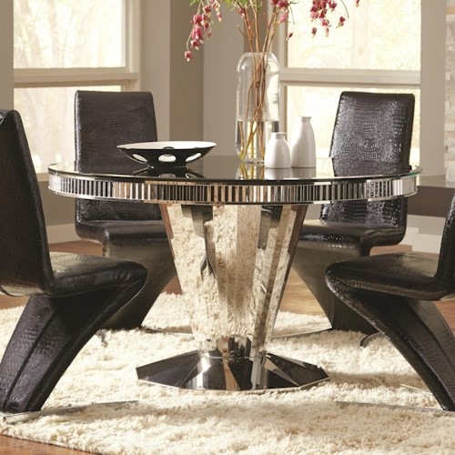 Coaster Barzini Round Dining Table with Tempered Black Glass Top