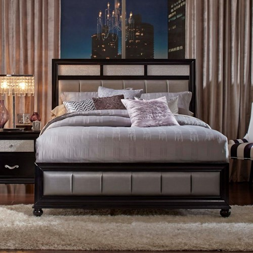 Coaster Barzini King Bed with Metallic Leatherette Upholstery