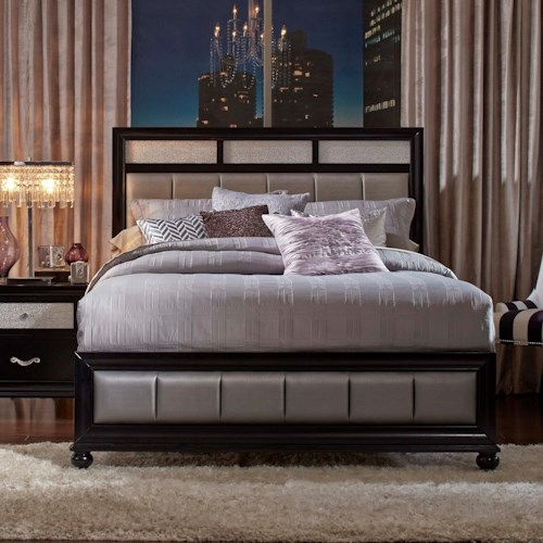 Queen Bed With Metallic Leatherette Upholstery Barzini