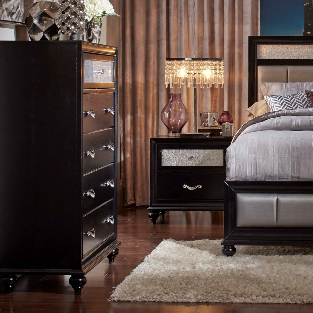 5 Drawer Chest with Metallic Acrylic Top Drawer Front