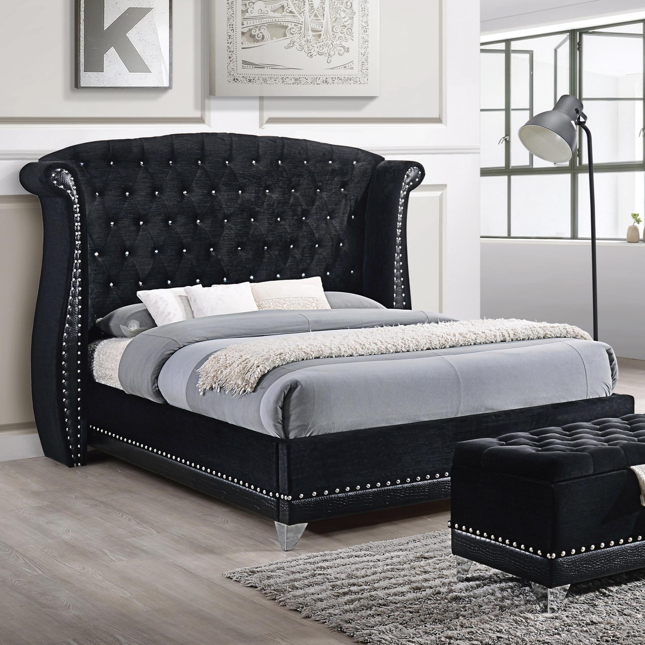 Coaster Barzini Glamorous Upholstered Queen Bed