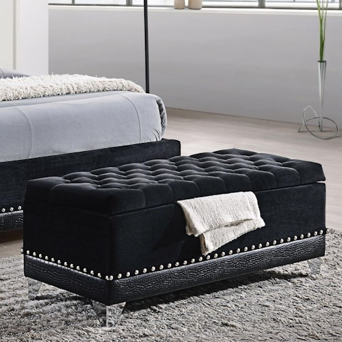Coaster Barzini Glamorous Upholstered Bench Trunk