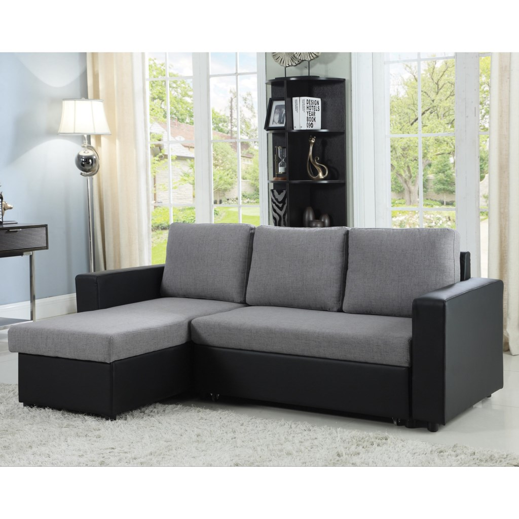 Baylor sectional sofa with chaise and sleeper by coaster