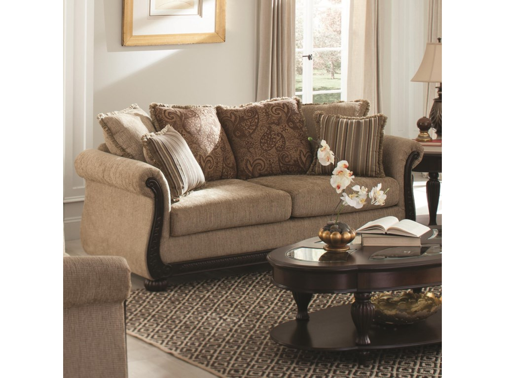 Coaster Beasley 505241 Traditional Sofa With Rolled Arms And Wood Trim Dunk Bright Furniture Sofas