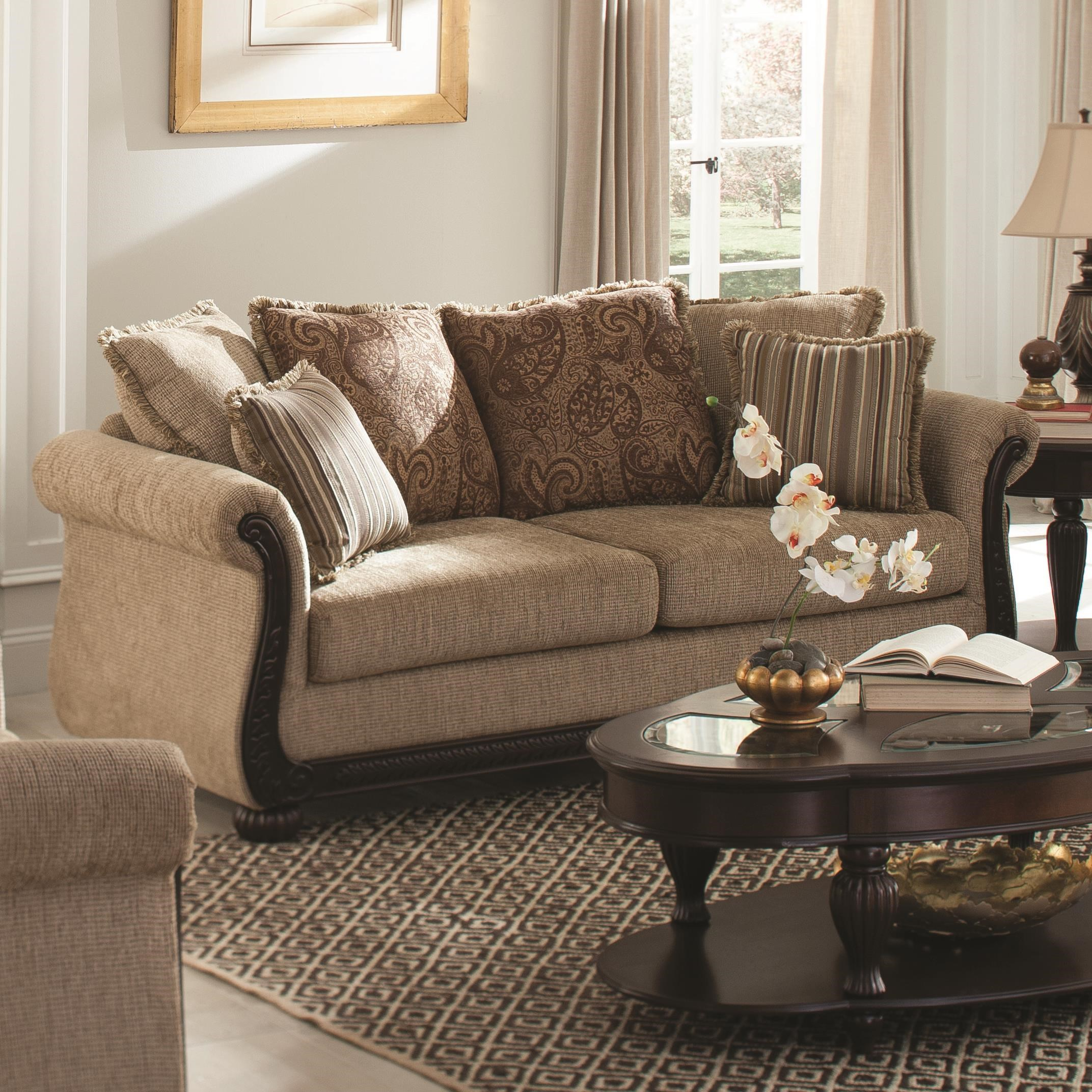 Coaster Beasley Traditional Sofa With Rolled Arms And Wood Trim