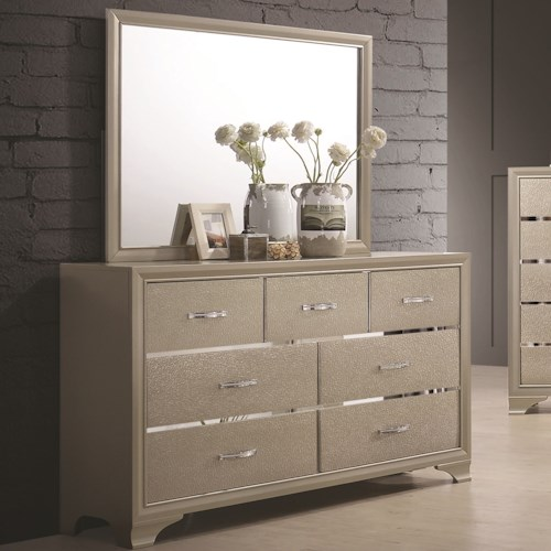 Coaster Beaumont Glamorous Seven Drawer Dresser and Mirror