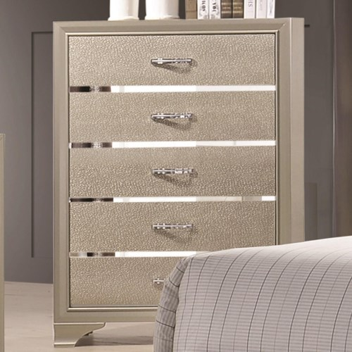 Coaster Beaumont Five Drawer Chest with Felt Lined Top Drawer