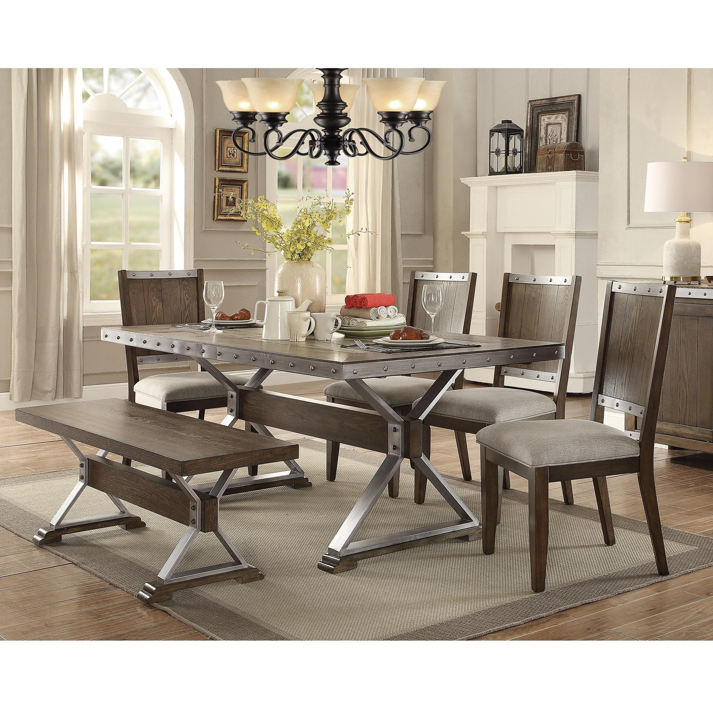 Coaster Beckett Rustic Table And Chair Set With Bench   Dunk U0026 Bright  Furniture   Table U0026 Chair Set With Bench