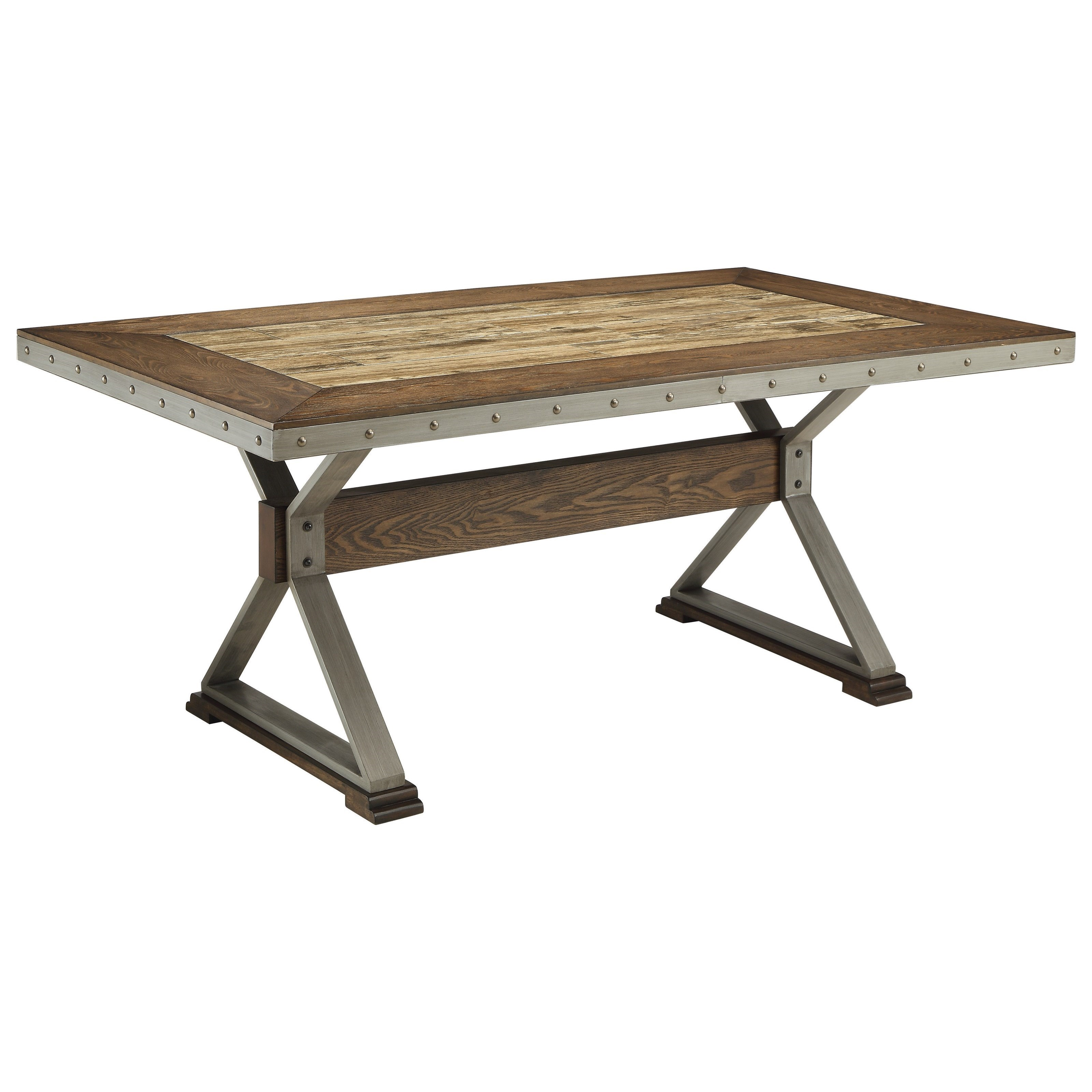 Coaster Beckett Rectangular Rustic Dining Table With Ceramic Tile Top   Del  Sol Furniture   Dining Tables