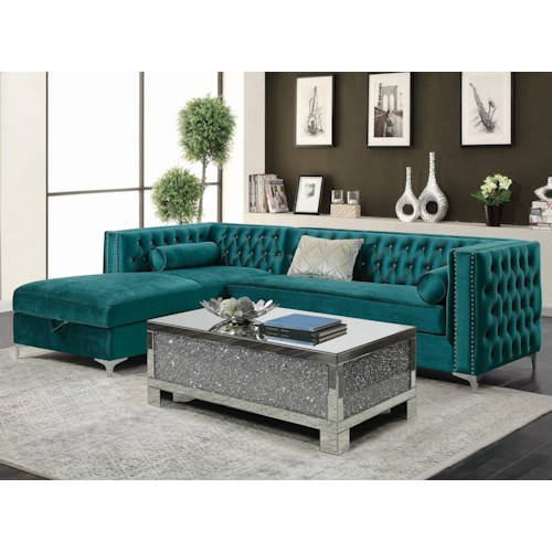 Coaster Bellaire Tufted Sectional with Storage Chaise