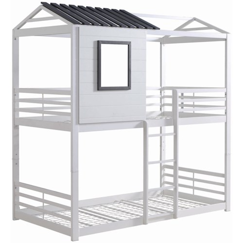 Coaster Belton White/Gray House Twin/Twin Bunk Bed