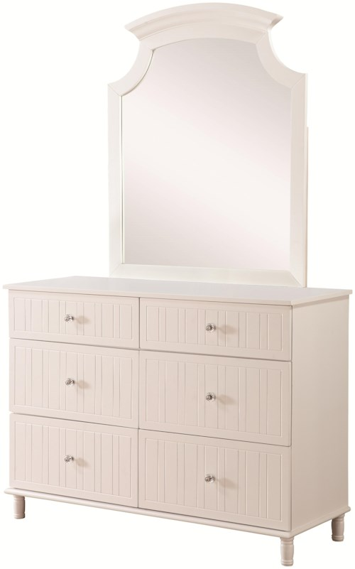 Coaster Bethany 6 Drawer Dresser and Mirror Set with Crystal Knobs