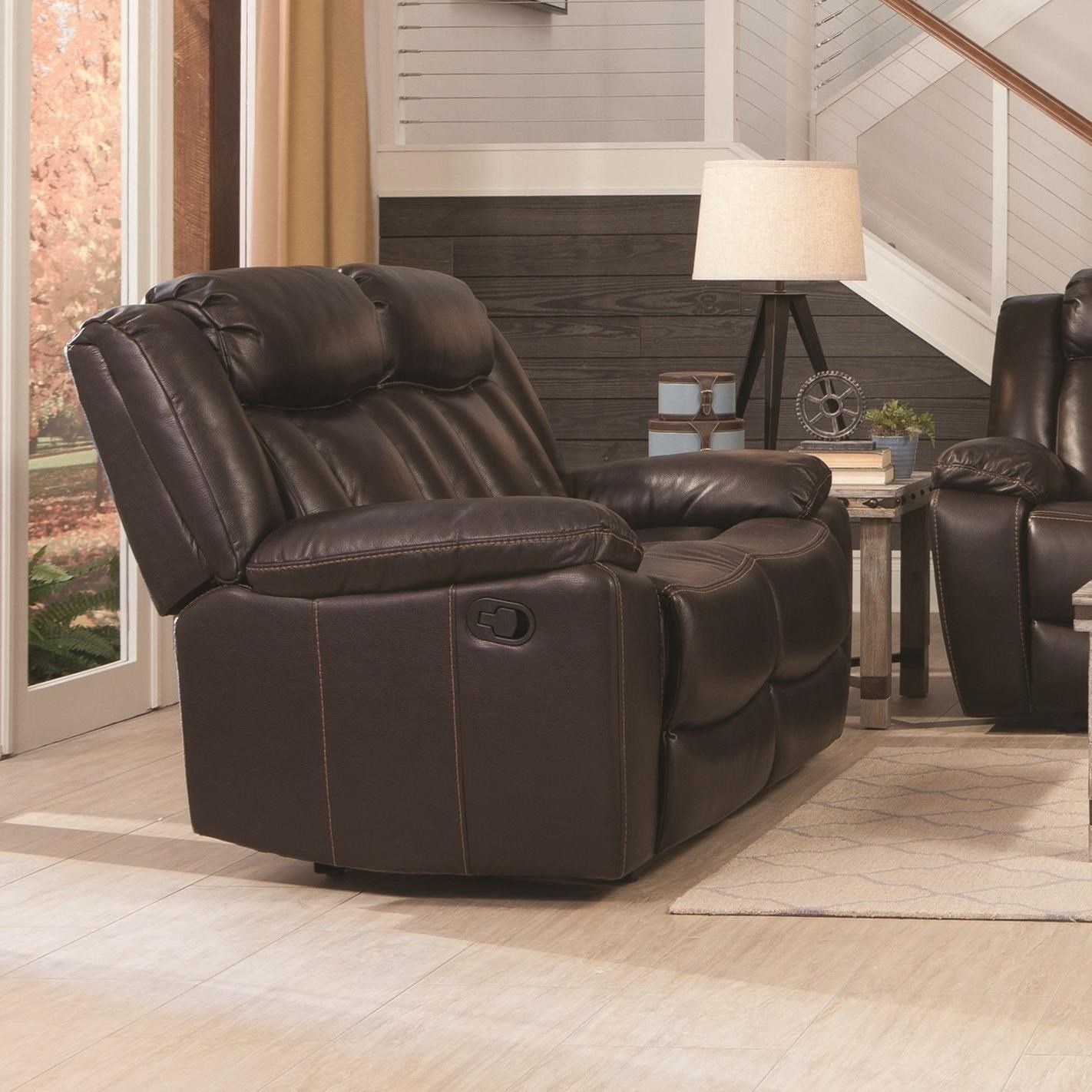 Elegant Coaster Bevington Casual Motion Loveseat With Channeled Backrest