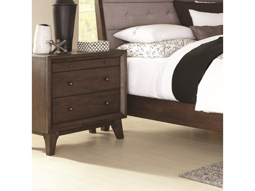 Coaster Bingham B259-02 3 Drawer Night Stand with Top Felt-Lined ...