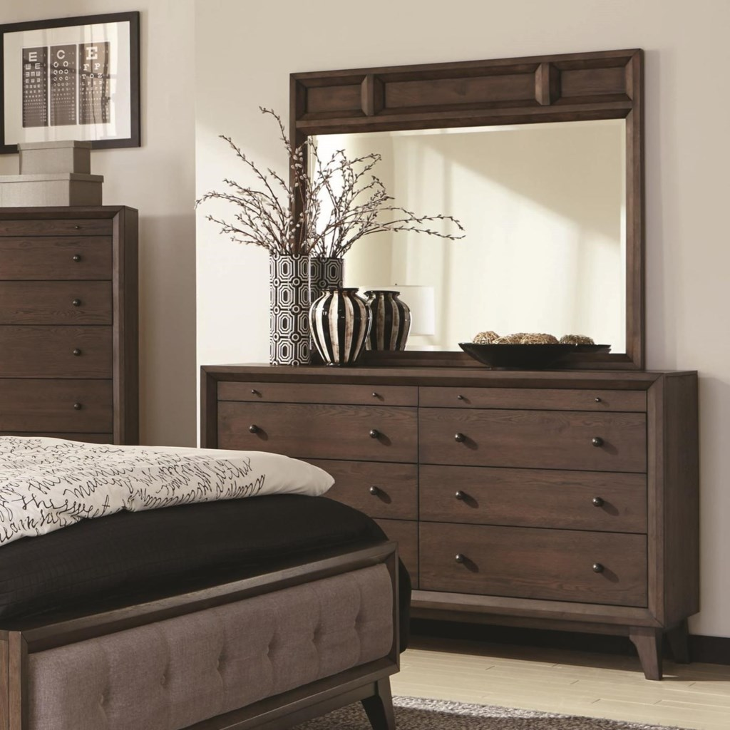 Coaster Bingham 8 Drawer Dresser And Mirror With Wood Frame Value