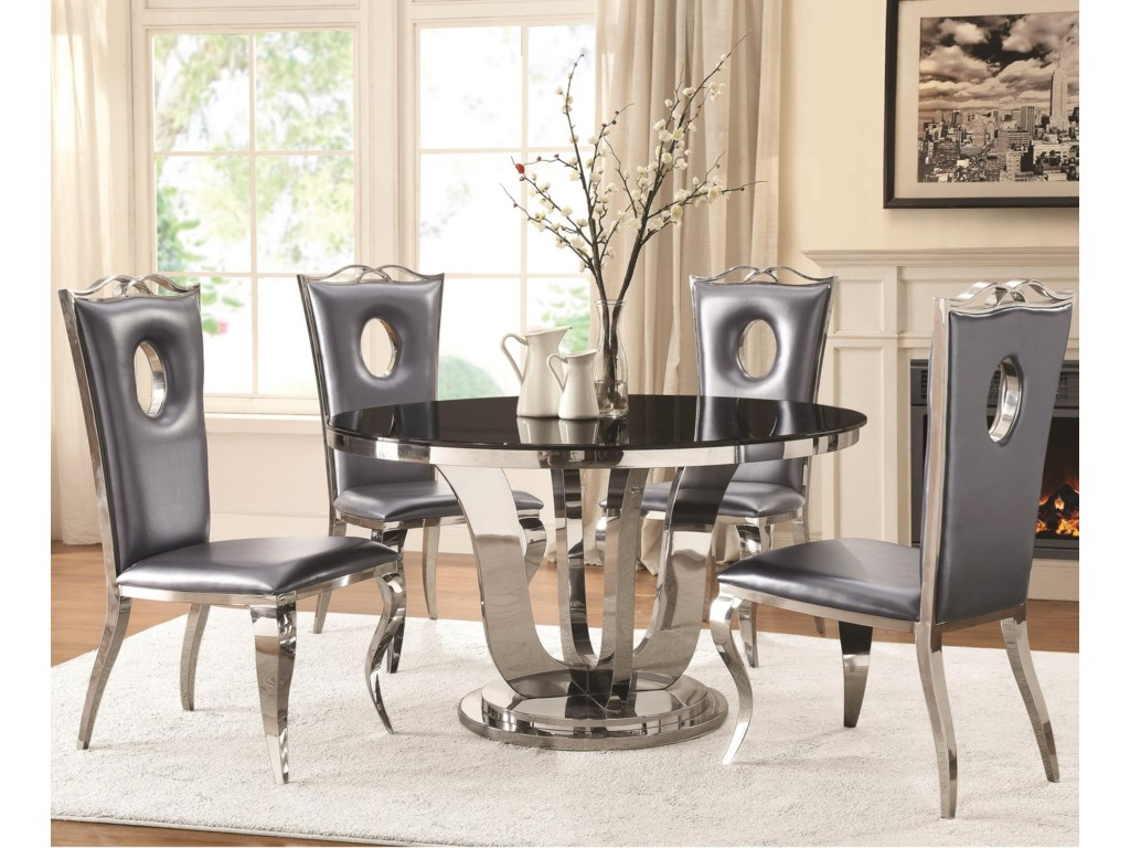 Blasio Glam Five Piece Dining Set With Round Table And Faux Leather Chairs By Coaster